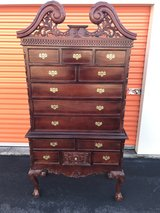 "Hand Made Solid Mahogany ""Highboy"" Carved Chest in Cherry Point, North Carolina"