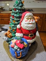 Vintage Chalk Santa and tree with lights in Bartlett, Illinois