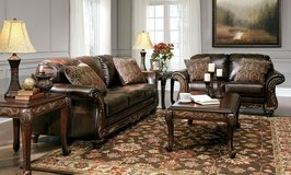 NEW! UPSALE DURABLEND LEATHER  ASHLEY SOFA LOVE LIVING ROOM SET! in Vista, California