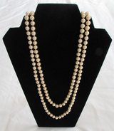 J30 Faux Pearls Necklace Golden Tan Continuous Strand in Ramstein, Germany