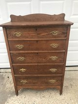 Antique Solid Oak 5 Drawer Chest W/Splashback in Cherry Point, North Carolina