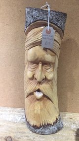 Wizard in tree trunk carving 12 inches in Lakenheath, UK