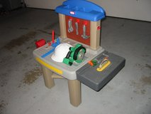Little Tikes workbench with table saw, power saw, tools and hard hat. in Morris, Illinois