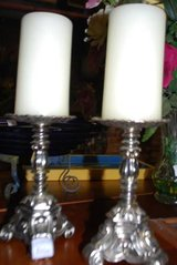 Pair of Silver-Toned Antiqued Finish Candlesticks in Warner Robins, Georgia