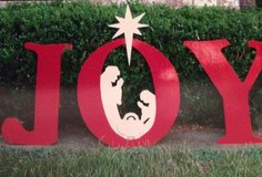 JOY    Christmas yard art.   hardware to set up included   Painted and sealed.   NEW. in Alvin, Texas