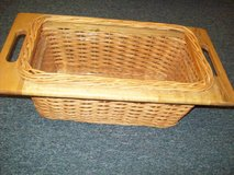 Woven Storage Basket With Plastic Lining and Wooden Frame and Handles in Macon, Georgia