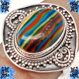 New - Natural Multicolor Rainbow Calsilica Sterling Silver Ring - Size 7 in Alamogordo, New Mexico