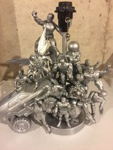 Hand made one of a kind silver/metallic action figure table lamp in Plainfield, Illinois