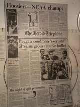 Vintage HOOSIERS NCAA CHAMPS / RONALD REAGAN SHOOTING Newspaper Metal Printing Plate The Herald ... in Fort Campbell, Kentucky