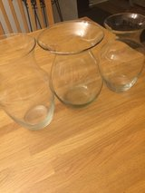 3 Glass vases 8-9 inches tall in Fort Bliss, Texas