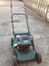 Push behind lawn mover (gas). Good condition. Green. Runs and cuts great. in bookoo, US