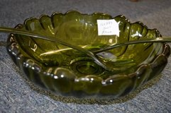 Vintage Green Salad Bowl With Utensils in Macon, Georgia