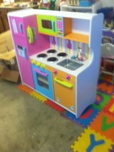 Kids Wood Kitchen Set, Kids plastic kitchen set and a doll high chair in Cleveland, Texas