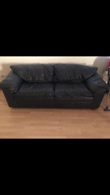 Great Buy...Navy Blue Authentic Leather Sofa and Love Seat in Algonquin, Illinois