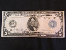 Vintage Currency Rare 1914 Large Size 5 Dollar Boston Type-A Federal Reserve Note in Cherry Point, North Carolina
