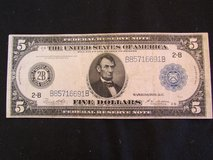 Vintage 1914 Large Size 5 Dollar New York Type-A Federal Reserve Note in Cherry Point, North Carolina
