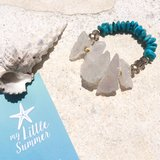 rough rock crystal & turquoise bracelet in Okinawa, Japan