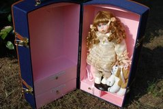 Porcelain Doll and Dog in Travel Case in Macon, Georgia