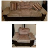 Mocha & Chocolate Brown Couch with Matching Chair in Bartlett, Illinois