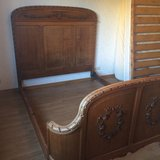 antique French full size bed with slats and mattress in Ramstein, Germany