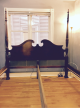 MUST SELL - All Offers Considered. Wood Detailed Carved 4-Poster Rice Bed - KING Size Bed Frame in Cary, North Carolina