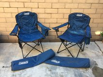 Pair of oversized Coleman chairs with storage bags in Oceanside, California