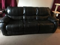 Black Leather Couches (3 seater, love seat, reclining chair) set in Lake Elsinore, California