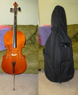 Half Cello (recently re-strung), bow, & soft case in Bartlett, Illinois