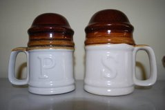 Pair of Large Stoneware Salt and Pepper Shakers in Perry, Georgia