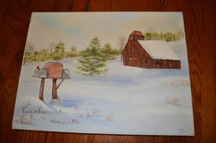 Winter Barn and Mailbox Canvas Painting in Perry, Georgia