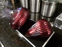 Set of 2 Oversized Red Mercury Glass Ornaments - in Box in Lockport, Illinois