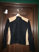 Willi Smith Suede Black and Tan jacket Petite Medium (Size 4/6) in Virginia Beach, Virginia