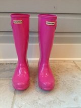 Girls Hunter Rain Boots + Fleece Welly Boot Socks - Hot Pink Size 4 in Naperville, Illinois