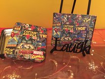 Brand new Marvel Comics Super Heroes leather wallet in tin case in Plainfield, Illinois