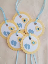 8 Baby Shower Gift Tags Handmade in Ramstein, Germany