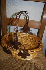 Basket with Metal Leaf Detail and Handle in Perry, Georgia