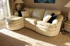Beautiful white leather wraparound couch with recliner in Eglin AFB, Florida