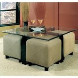 Contemporary Square Black Metal Base Glass Top Cocktail Table/ w 2 ottomans in Bartlett, Illinois