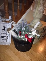Rustic barrel bucket filled w/ real birch logs, Christmas pines, grapes, berries, pine cones! in Lockport, Illinois