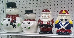 Snowman Santa & Nutcracker ~ Stone Statues Holiday Christmas Festive Decorations in Schaumburg, Illinois