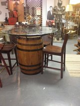 Jack Daniels barrel table and stools in Dover, Tennessee