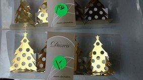 Gold colored Christmas tree decorations  4 per pack BRAND NEW in Joliet, Illinois