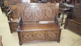 Carved Oak Monks Bench Free Delivery Others Available in Lakenheath, UK