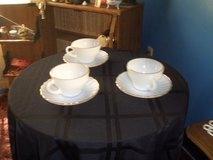 3 milk glass tea cups and saucers in Wilmington, North Carolina