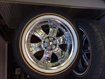 Custom Built Vogue 285-50R 6-ply tires. Are mounted on set of four 632 20X8 Silver Chrome in Conroe, Texas