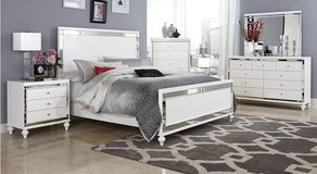 NEW!! UPSCALE QUEEN DESIGNER WHITE BEDFRAME SET! in Vista, California