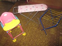 Doll items / set (stroller, carrier, high chair, ironing board & clothes drying rack) in Ramstein, Germany