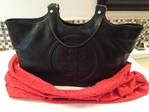 Tory Burch Bombe Burch Tote-(black leather) New with tags in Chicago, Illinois
