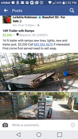 16ft Trailer with Ramp in Beaufort, South Carolina