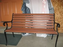 Cast iron wooden bench in Fort Leonard Wood, Missouri